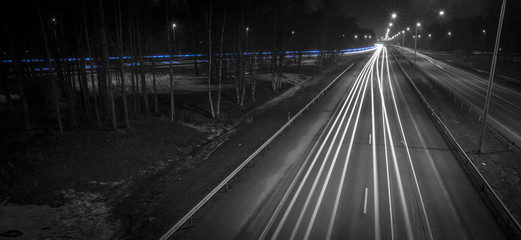 Spoed Foto op Canvas Nacht snelweg light trails on highway at night