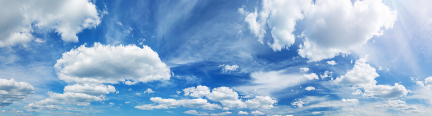 white fluffy clouds on blue sky in summer Fotobehang