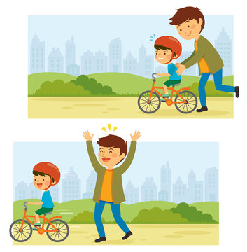 Father teaches his little kid to ride a bike in a park with cityscape at the background