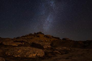 The remains of an ancient civilization. Gobustan  Reserve at night Azerbaijan