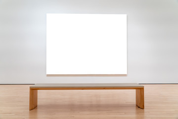 White mockup billboard in front of a bench