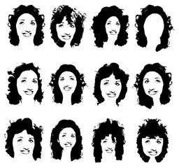 Black silhouette of a girl with curly hair. A set of templates hairstyles. Long hair hairstyle silhouette. Portrait of a girl in full face. Vector illustration on isolated background.