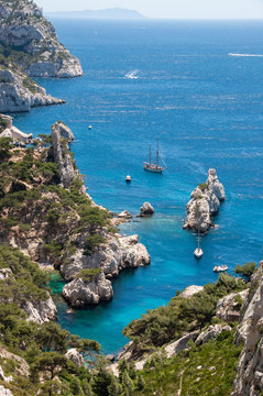 Beautiful shot of Sugiton Calanque near Marseille in the south of France on a nice summer day