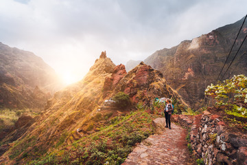 Santo Antao Island Cape Verde. Girl hiking along the trekking route to verdant Xo-Xo valley....