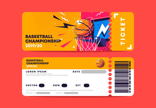 Vector illustration of the entrance ticket template for the basketball championship