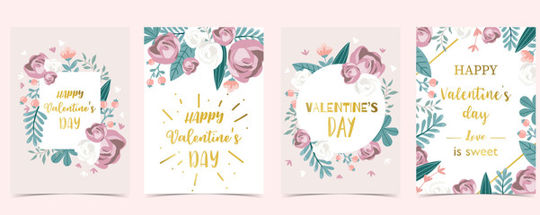 Wall Mural - Collection of love background set with leaves,flower,rose.Editable vector illustration for Valentine's day invitation,postcard and website banner
