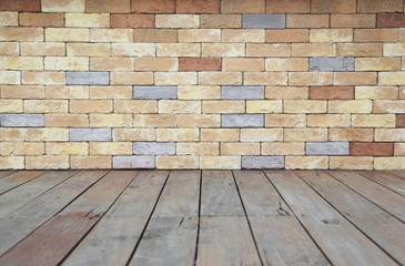 Brick wall with wooden floor background texture