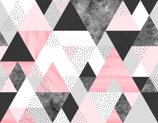 Seamless geometric abstract pattern with pink, spotted and gray watercolor triangles on white background