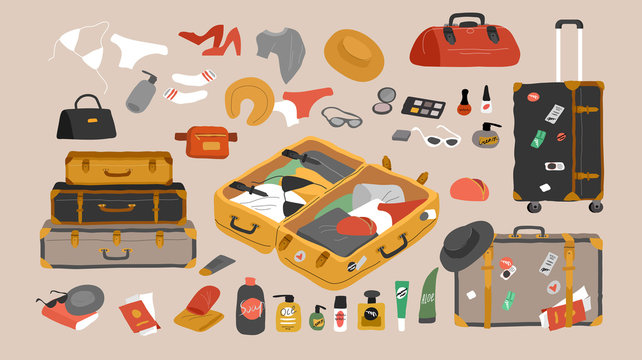 Set of travel stuff for vacation and holiday. Various luggage bags, vintage open suitcases, sunglasses, cosmetics, clothes. Hand drawn trendy isolated design elements. Cartoon vector