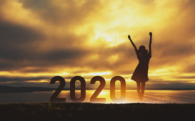 New year 2020 travel woman