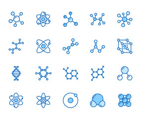 Molecule flat line icons set. Chemistry science, molecular structure, chemical laboratory dna cell protein vector illustrations. Outline signs scientific research. Pixel perfect 64x64 Editable Stroke