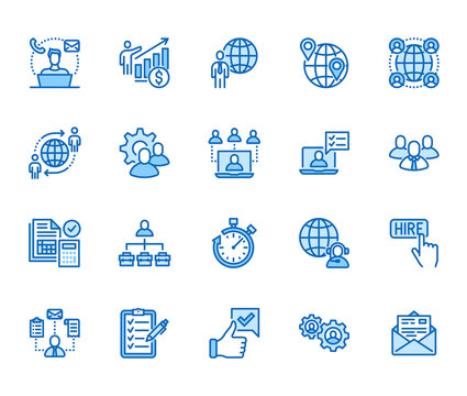 Outsource flat line icons set. Recruitment, partnership, teamwork, freelancer, part and full-time job vector illustrations. Outline pictogram for business. Pixel perfect 64x64. Editable Strokes