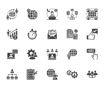 Outsource flat glyph icons set. Recruitment, partnership, teamwork, freelancer, part and full-time job vector illustrations. Black signs for business. Silhouette pictogram pixel perfect 64x64