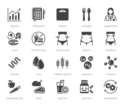 Nutritionist flat glyph icons set. Diet food, nutritions - protein, fat, carbohydrate, fit body vector illustrations. Black signs for overweight treatment. Silhouette pictogram pixel perfect 64x64