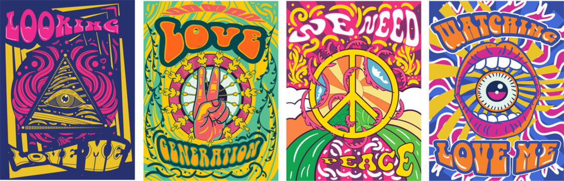 Vibrant colorful We Need Peace design in retro hippie style with peace symbol and text over abstract patterns, vector illustration