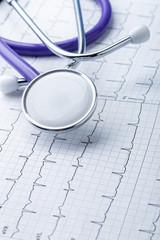 Cardiogram and stethoscope closeup, medical heart care concept