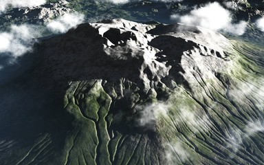 Recess Fitting Gray traffic Mountain volcano in clouds from a height of flight view overcast