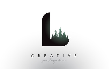 Creative L Letter Logo Idea With Pine Forest Trees. Letter L Design With Pine Tree on Top