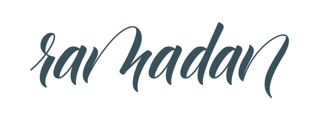 Modern brush calligraphy Ramadan isolated on white background. Vector illustration.