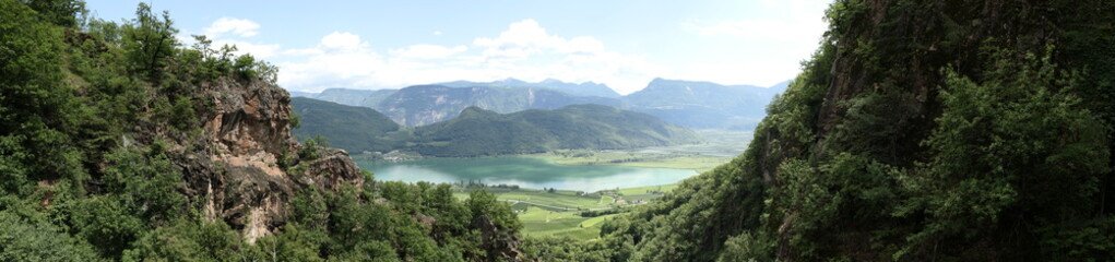 Panorama picture of Lake Kaltern taken from above
