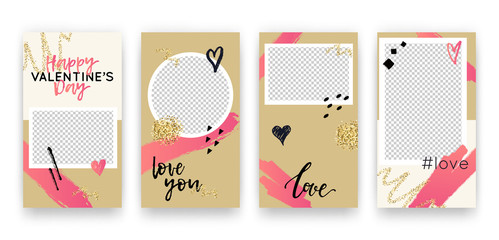 Vector set with trendy editable templates for social networks stories. Valentine's Day modern banners with hearts and phrases