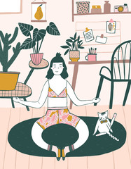 A girl sits in her room and practices yoga illustration