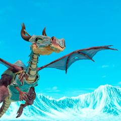 dragon cartoon with armor looking around on blue sky close up