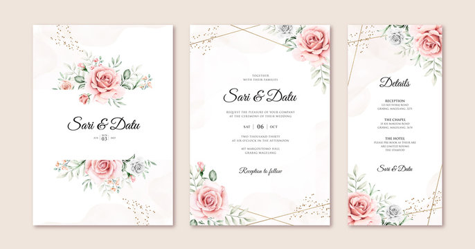 Elegant wedding invitation card set template with beautiful flowers and leave watercolor