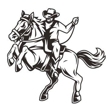 Cowboy riding horse vintage concept