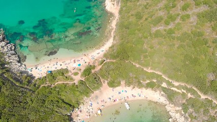 Fototapete - Aerial view of Porto Timoni beach at Afionas is a paradise double beach with crystal clear azure water in Corfu, Ionian island, Greece, Europe
