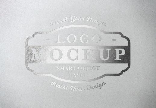 Metallic Paper Pressed Logo Mockup