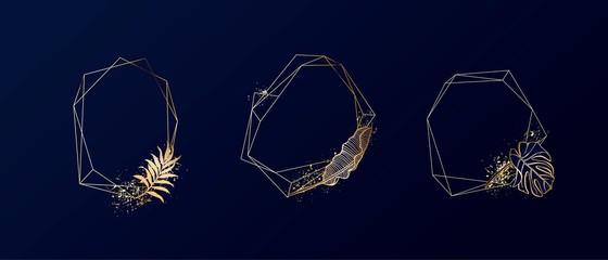 Set of exotic elegant frames. Geometric frame. Palm, exotic leaves, shiny splatters.