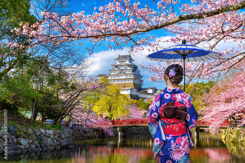 Wall mural Asian woman wearing japanese traditional kimono looking at cherry blossoms and castle in Himeji, Japan.