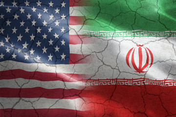 Cracked Flag of United States of America against Iran - indicates partnership, agreement,...
