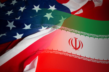 world war 3 of america vs iran flag battle, crisis economy of soldier army, muslim conflict fighting for religion