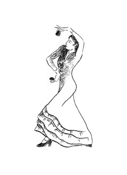 Spanish flamenco dance performer with castanets hand drawn charcoal sketch.
