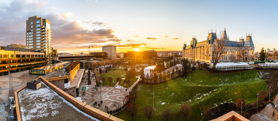Panoramic view of Cultural Palace and central square in Iasi city, Romania Fototapete