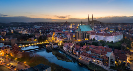 Fototapete - Gorlitz, Germany. Panoramic aerial view of old town at dusk with gothic Sts. Peter and Paul Church