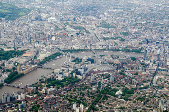 Aerial view of Waterloo and Westminster districts of London