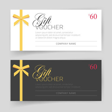 Gift card or voucher vector template design with golden thin gift bow white and black color, modern elegant gift certificate or coupon offer image