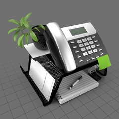 Mesh phone stand with office items