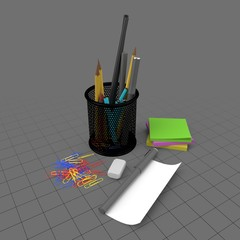 Mesh penholder with office accessories