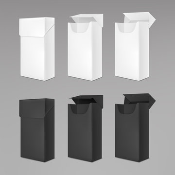 Empty white and black packs of cigarettes. Vector realistic mockup of open and closed paper package box for tobacco products isolated on gray background