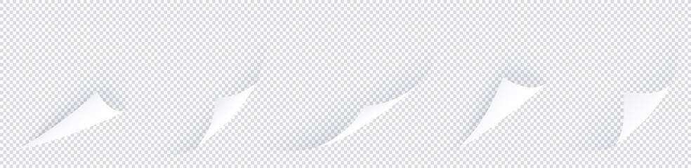 Curl corner set with shadows isolated on transparent background. 5 abstract flipped paper pages in row, curved paper sheet realistic mockup. Vector bent corner illustration.