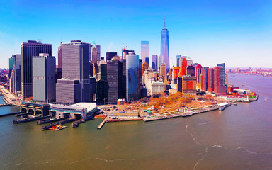 Aerial view from Skyline with Skyscrapers in Lower Manhattan, New York City, America USA. American architecture building. Metropolis NYC. Cityscape. Hudson, East River NY Wall mural