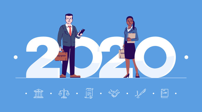 Professions 2020 flat banner vector template. Businesspeople isolated cartoon characters on blue. People in workwear and with briefcases. Banner, brochure page, leaflet design layout, place for text