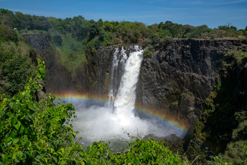 In de dag Bos rivier Large stream of water is flowing from the Zambezi river in to the Victoria Falls, with on top a rainbow.