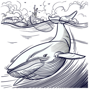 Blue whale being hunted by old time whalers book style line illustration