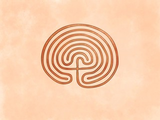 Cretan Minoan Labyrinth Built by Daedalus for King Minos at Knossos to Hold Minotaur (eventually killed by hero Thesseus). Symbol based on ancient greek pottery and ceramics red-figure drawings
