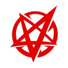 Satanic Pentagram Inverted Star Symbol in Cartoon Logo Style